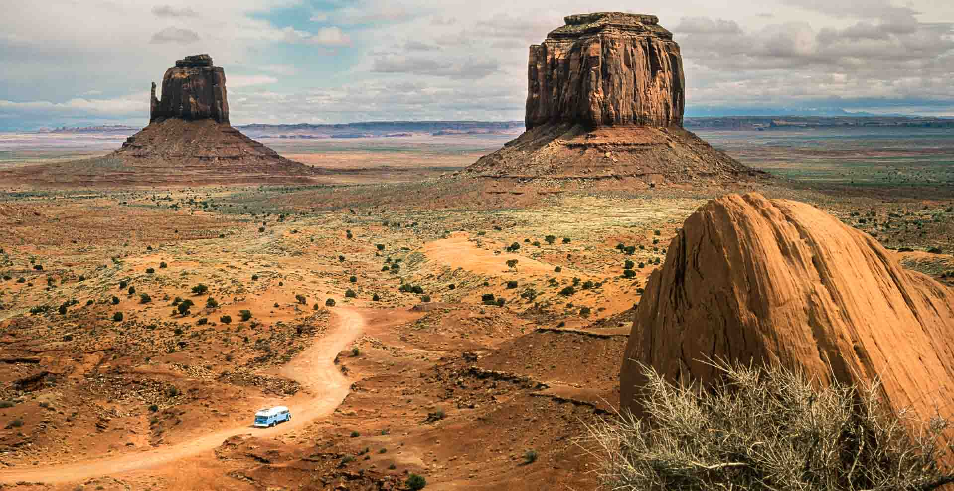 The Blubus travels Monument Valley, as we roam USA.